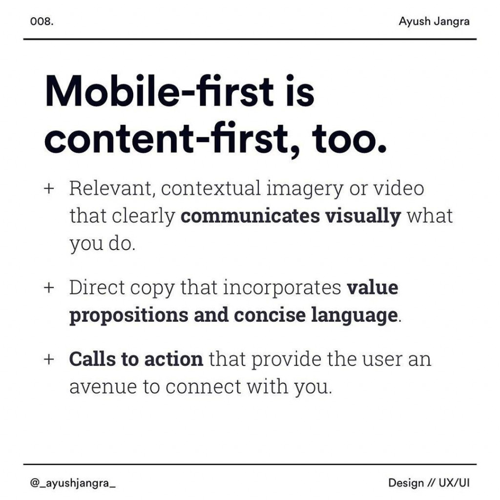 Mobile-first is content-first too  Relevant, contextual imagery or video that clearly communicates visually what you do Direct copy that incorporates value propositions and concise language Calls to actionthat provlde the user an avenue to connect with you