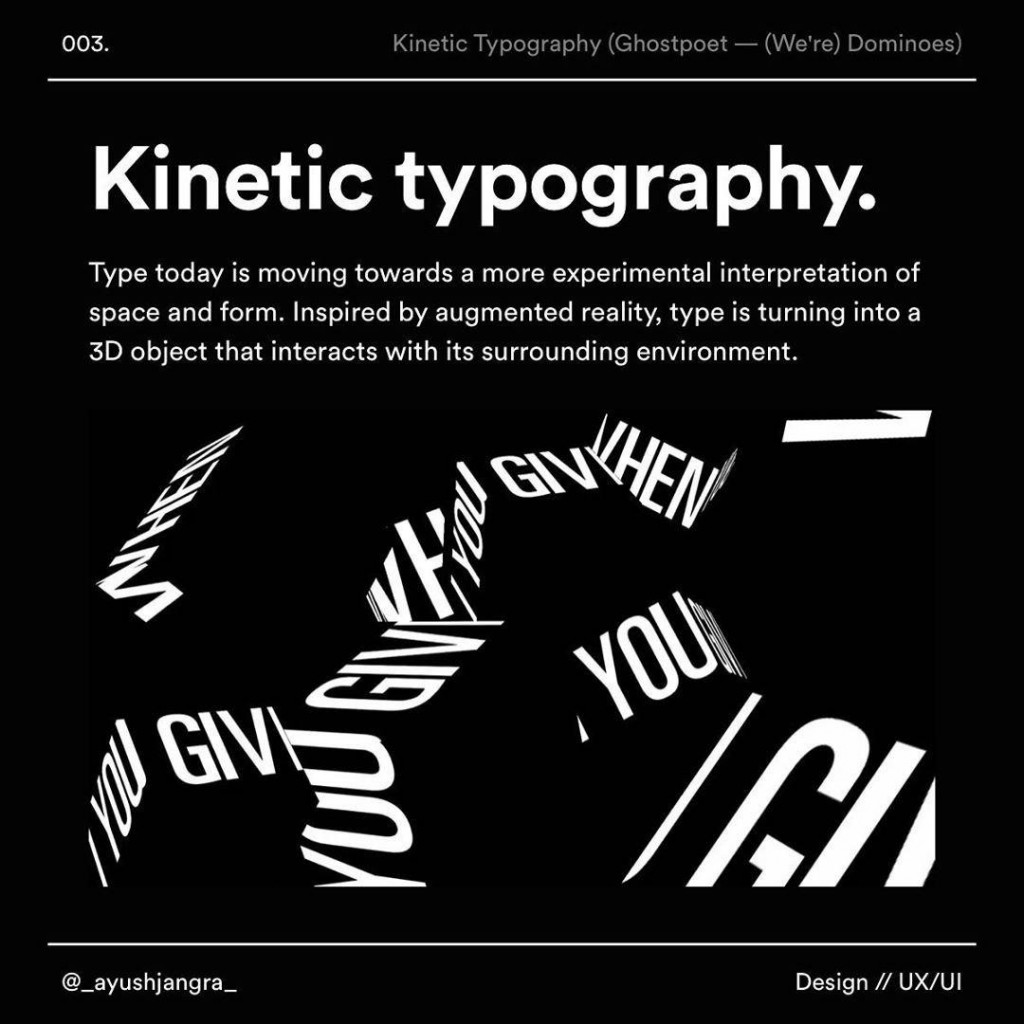 Kinetic typography  Type today is moving towards a more experimental ínterpretation of space and form. lnspired by augmented reality, type is turning into a 3D object that interacts with its surrounding environment