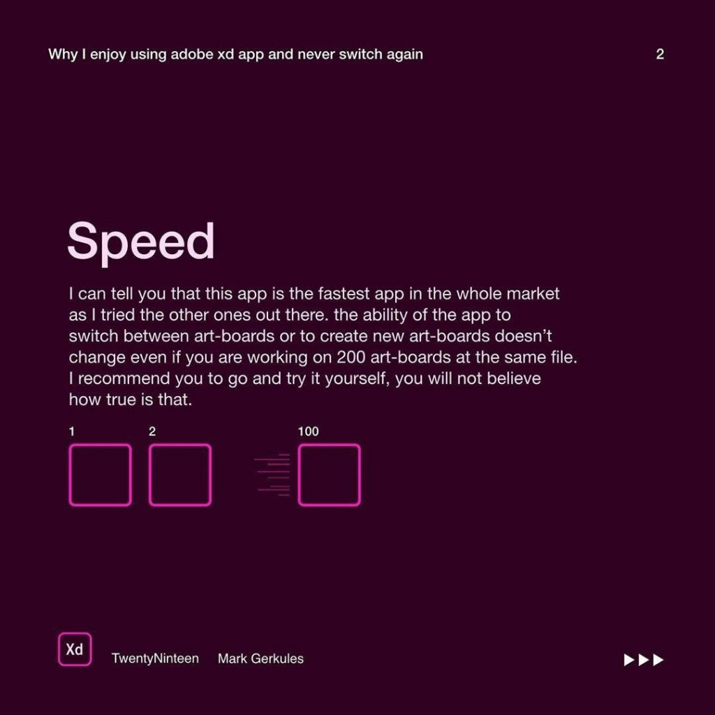 Speed  I can tell you that this app is the fastest app in the whole market as I tried the other ones out there. the ability of the app to switch between art-boards or to create new art-boards doesn't change even if you are working on 200 art-boards at the same file. I recommend you to go and try it yourself, you will not believe how true is that.