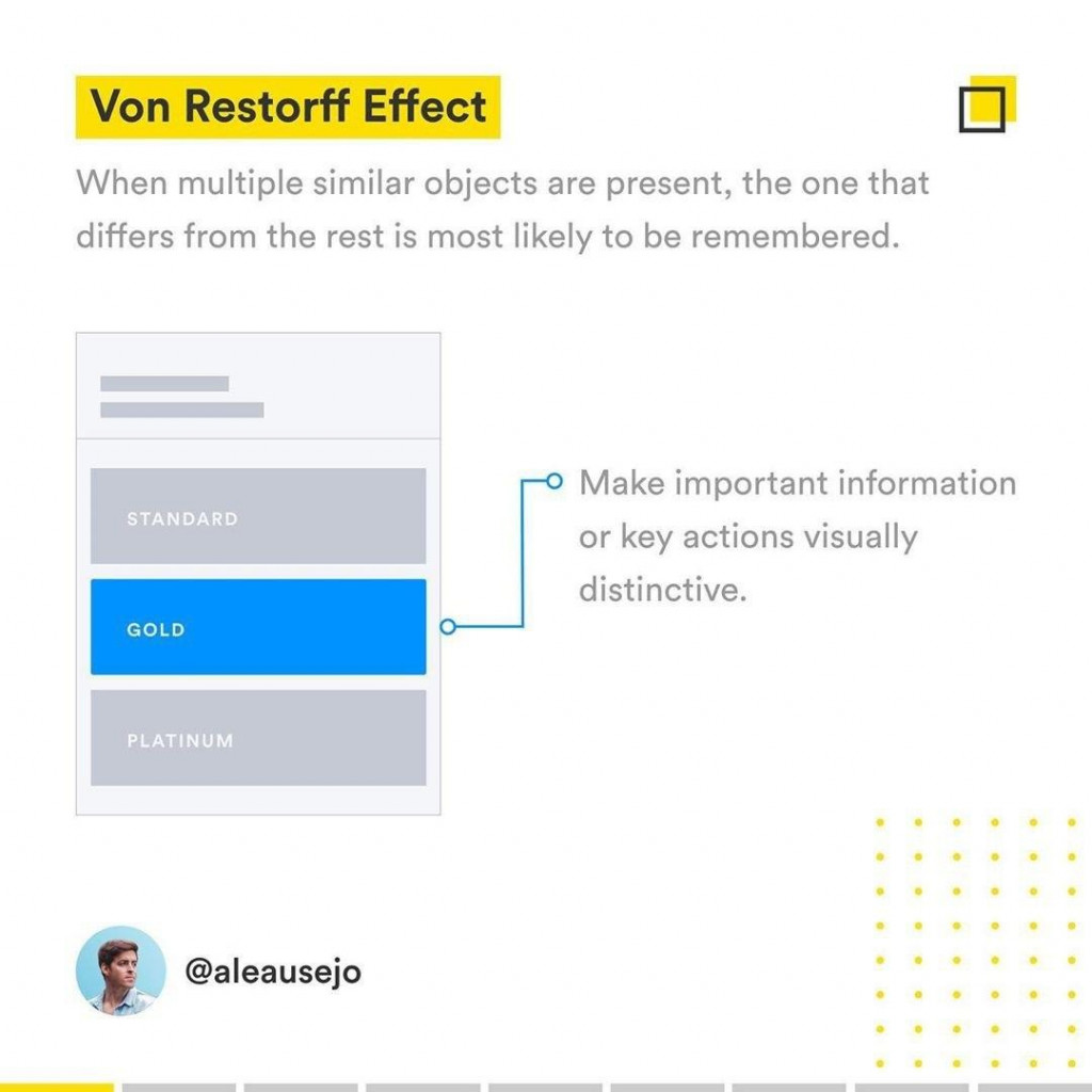 Von Restorff Effect  When multiple similar objects are present, the one that differs from the rest is most likely to be remembered.  Make important information or key actions visually distinctive.