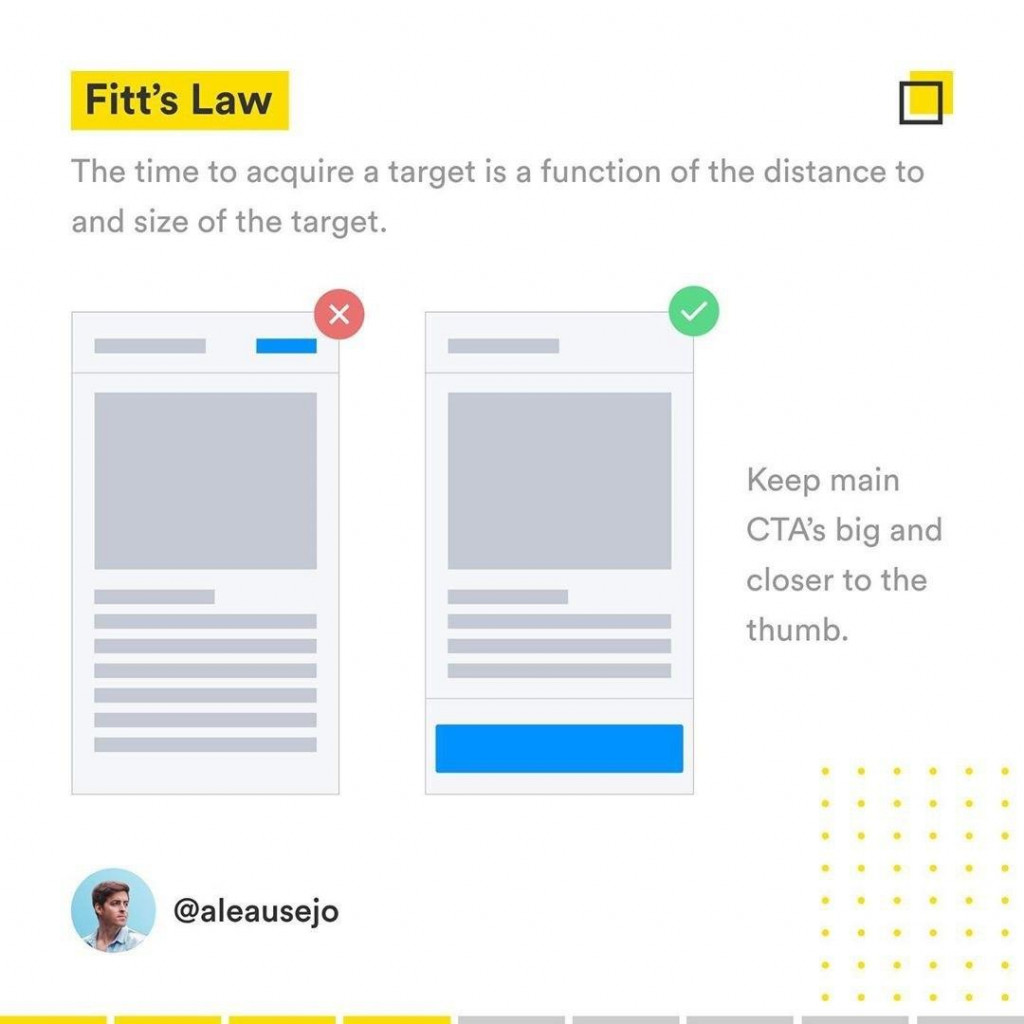 Fitt's Law  The time to acquire a target is a function of the distance to and size of the target Keep main CTA`s big and closer o the thumb.