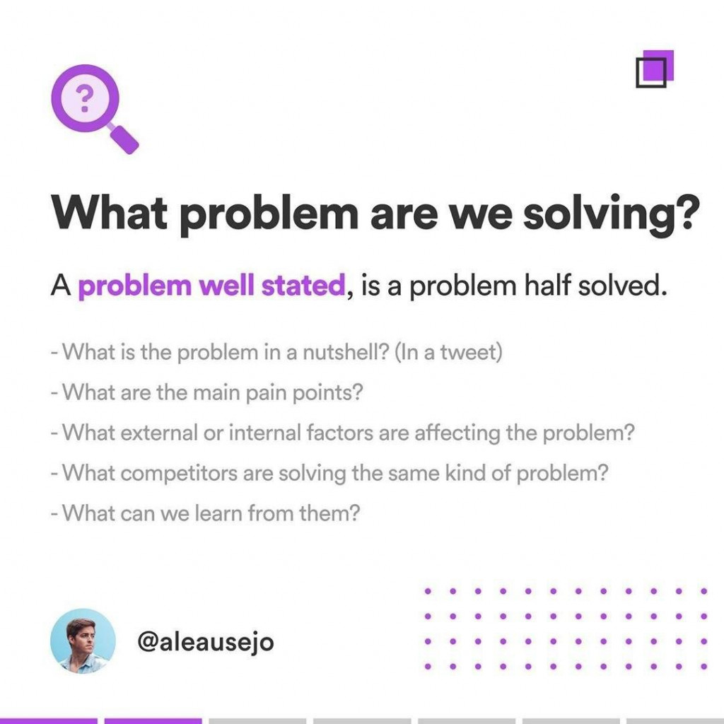 What problem are we solving?  A problem well stated, is a problem half solved.  - What is the problem in a nutshell? (In a tweet) What are the main pain points? - What external or internal factors are affecting the problem? - What competitors are solving the same kind of problem? - What can we learn from them?
