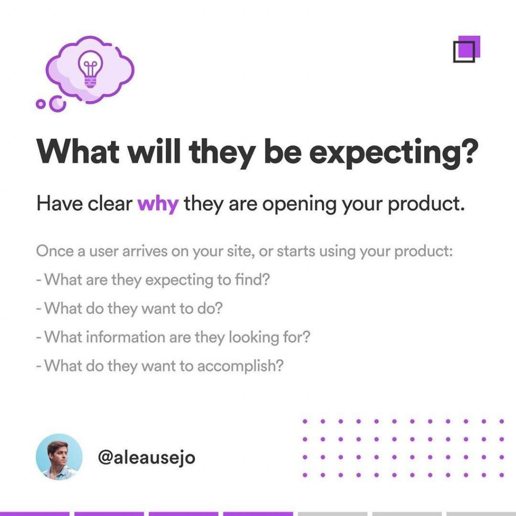 What will they be expecting?  Have clear why, they are opening your product.  Once a user arrives on your site, or starts using your product: - What are they expecting to find? - What do they want to do? - What information are they looking for? - What do they want to accomplish?