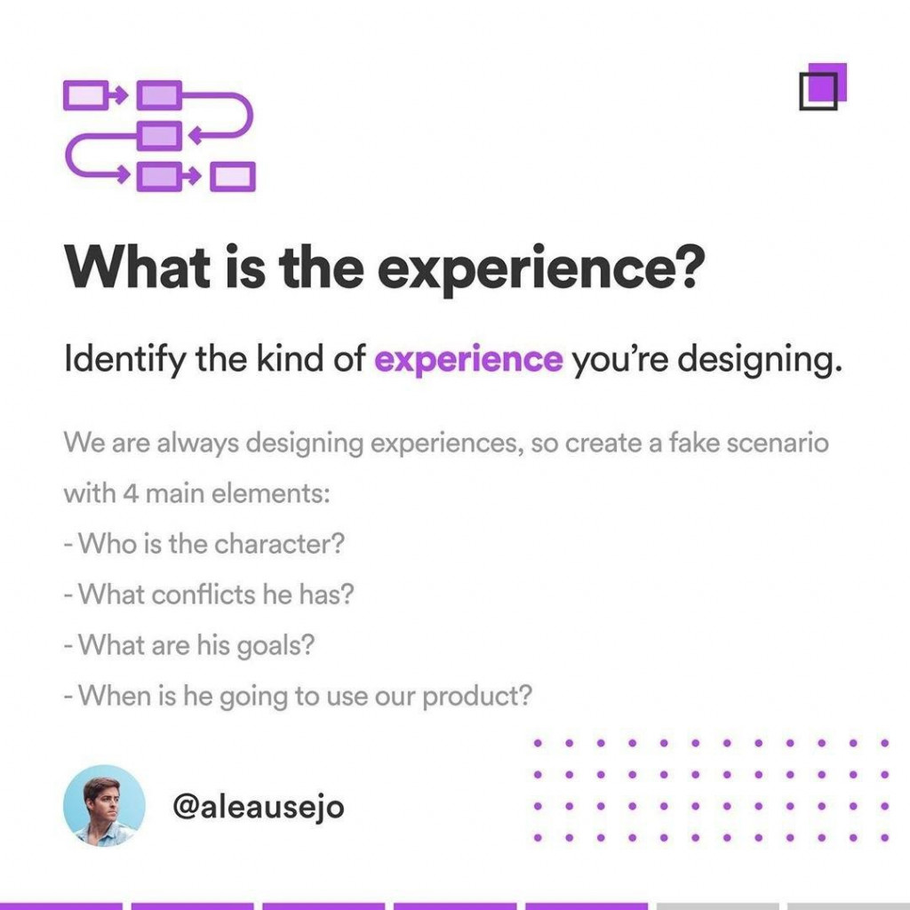 What is the experience?  Identify the kind of experience you're designing. We are always designing experiences, so create a fake scenario with 4 main elements: - Who is the character? - What conflicts he has? - What are his goals? - When is he going to use our product?