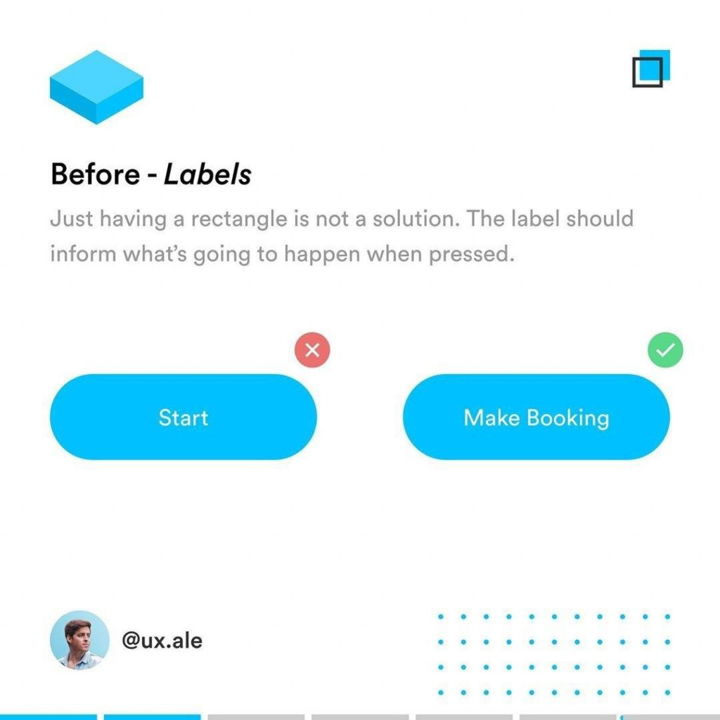 Before - Lobels  Just having a rectangle is not a solution. The label should inform what's going to happen when pressed