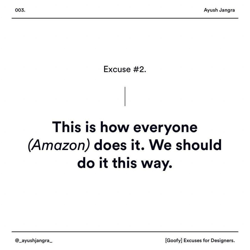 This is how everyone (Amazon) does it. We should do it this way