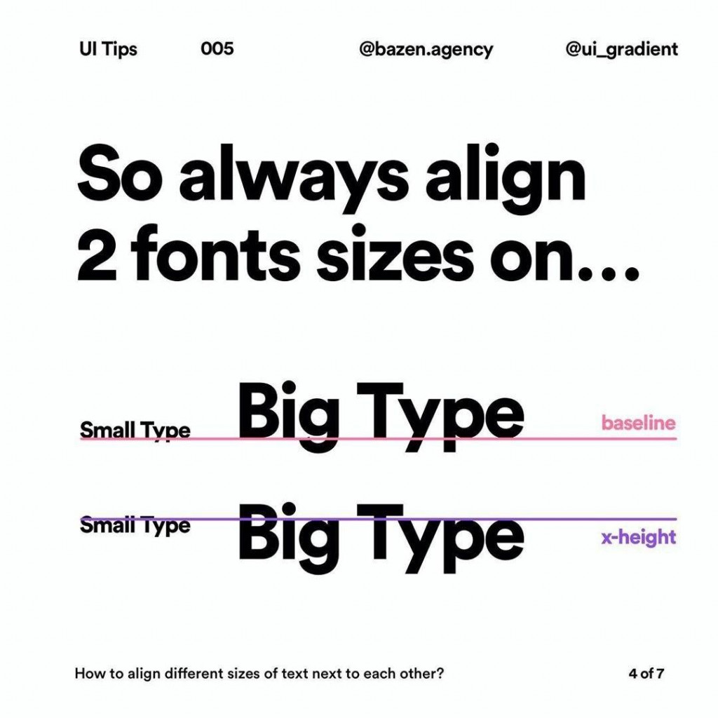 So always align 2 fonts sizes on...
