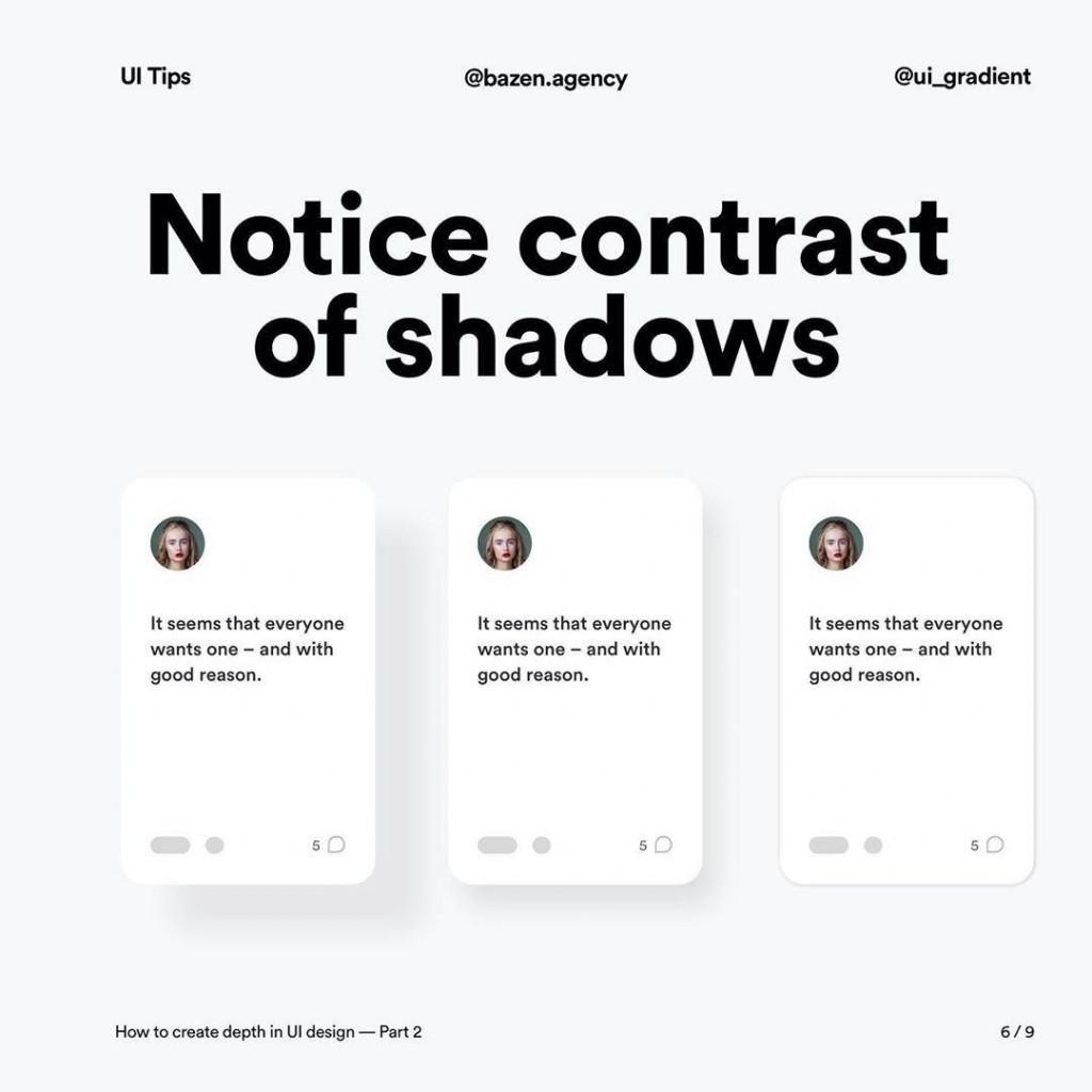 Notice contrast of shadows