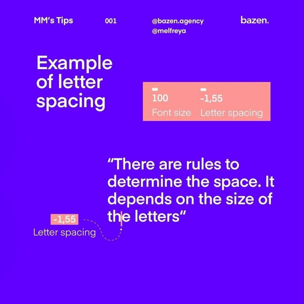 Example of letter spacing  There are rules to determine the space. lt depends on the size of the letters