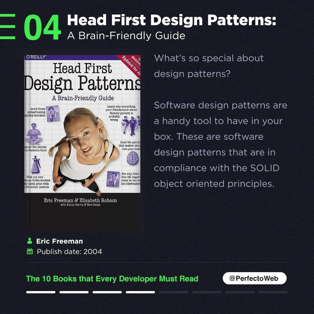 Head First Design Patterns: A Brain-Friendly Guide  What's so special about design patterns?  Software design patterns are a handy tool to have in your box. These are software design patterns that are in compliance with the SOLID object oriented principles.