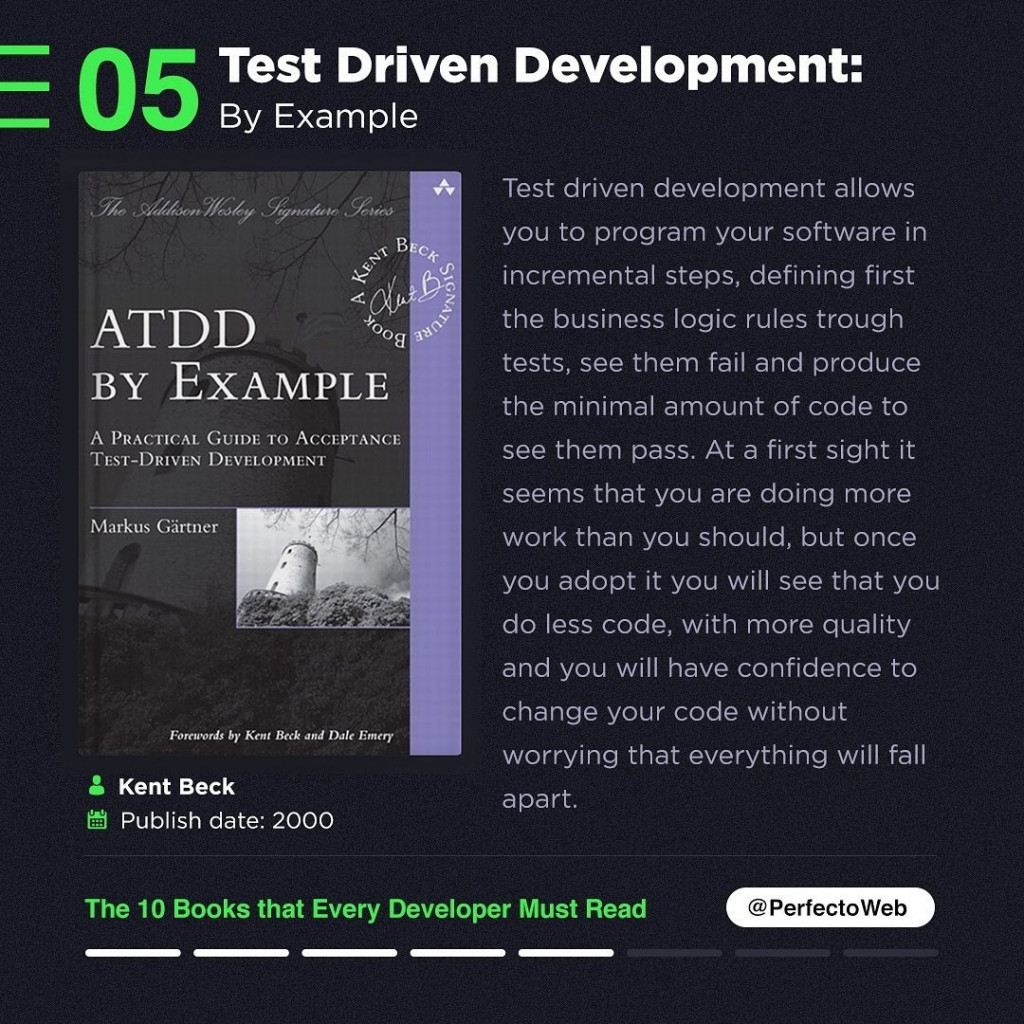 Test Driven Development: By Example  Test driven development allows you to program your software in incremental steps, defining first the business logic rules trough tests, see them fail and produce the minimal amount of code to see them pass. At a first sight it seems that you are doing more work than you should, but once you adopt it you will see that you do less code, with more quality and you will have confidence to change your code without worrying that everything will fall apart.