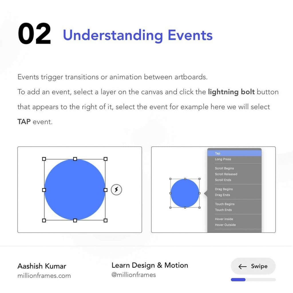 Understanding Events  Events trigger transitions or animation between artboards. To add an event, select a layer on the canvas and click the lightning bolt button that appears to the right of it, select the event for example here we will select TAP event.