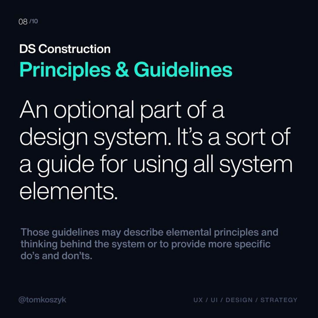 Principles & Guidelines  An optional part of a design system. It's a sort of a guide for using all system elements.  Those guidelines may describe elemental principles and thinking behind the system or to provide more specific do's and don'ts.