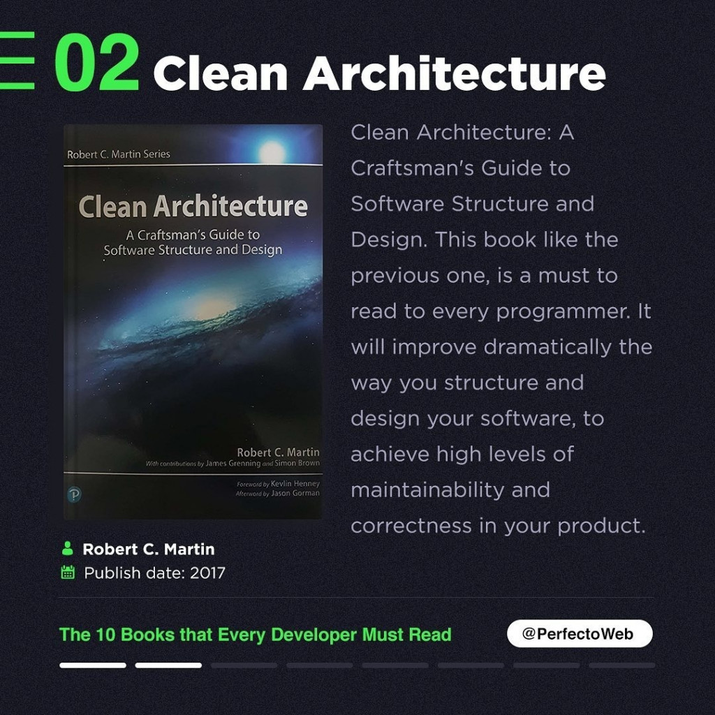 Clean Architecture  Clean Architecture: A  Craftsman's Guide to Software Structure and Design. This book like the previous one, is a must to read to every programmer. It will improve dramatically the way you structure and design your software, to Robert C. Martin achieve high levels of artenaenilason GOmian maintainability and correctness in your product.