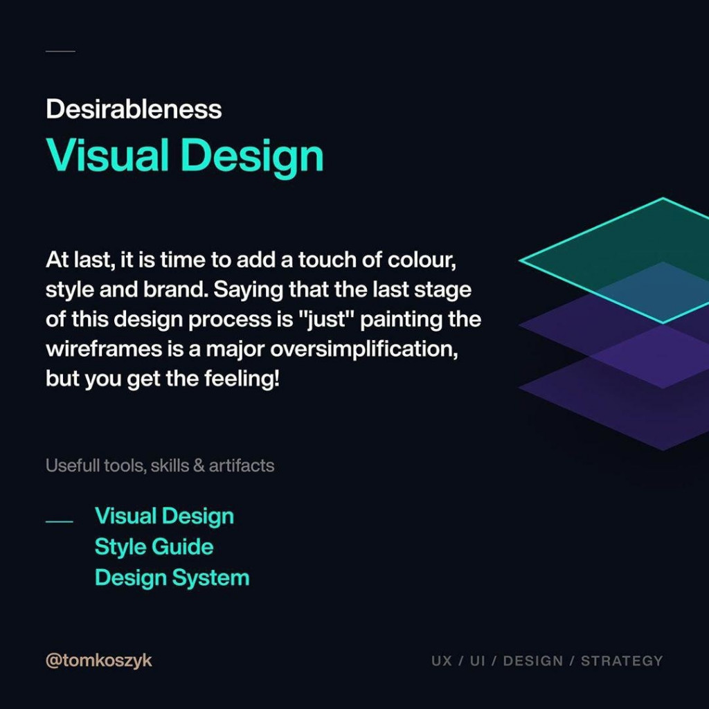 """Desirableness Visual Design  At last, it is time to add a touch of colour, style and brand. Saying that the last stage of this design process is """"just"""" painting the wireframes is a major oversimplification, but you get the feeling!"""