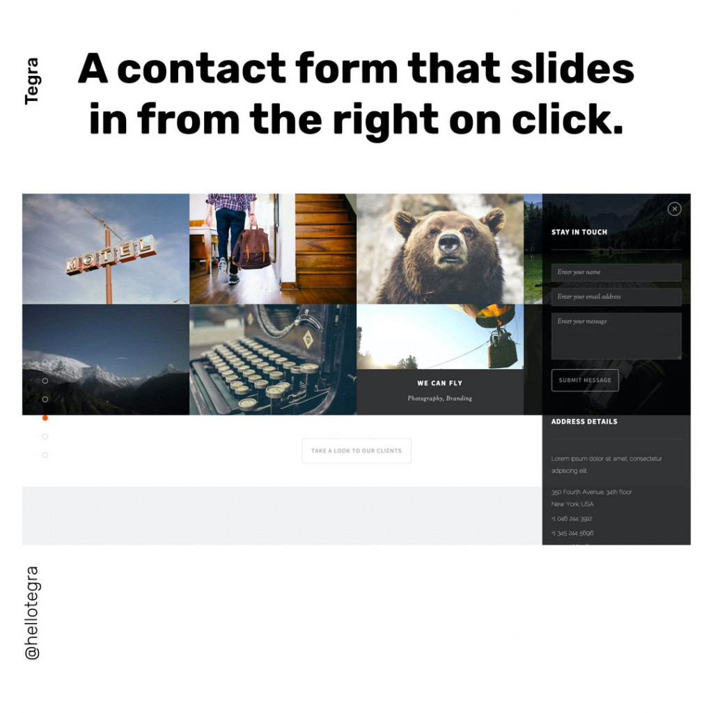 A contact form that slides in rrom the right on click