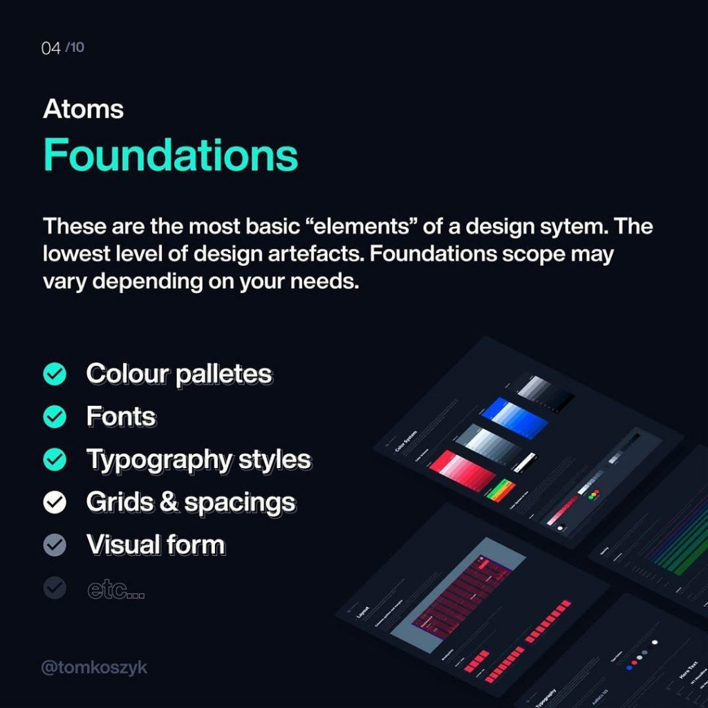 """Atoms Foundations  These are the most basic """"elements"""" of a design sytem. The lowest level of design artefacts. Foundations scope may vary depending on your needs."""