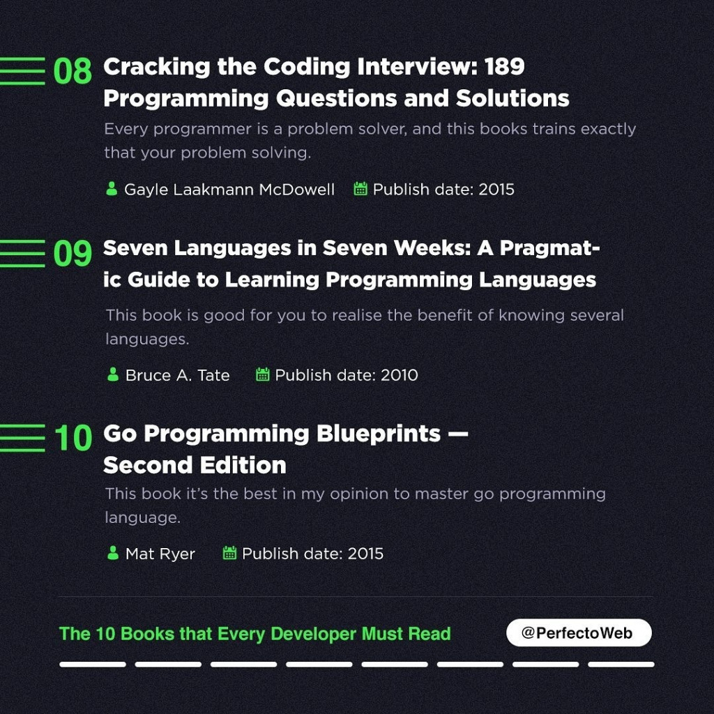 Cracking the Coding Interview: 189 Programming Questions and Solutions Every programmer is a problem solver, and this books trains exactly that your problem solving. Gayle Laakmann McDowell M Publish date: 2015  09 Seven Languages in Seven Weeks: A Pragmat-ic Guide to Learning Programming Languages  This book is good for you to realise the benefit of knowing several languages.  S Bruce A. Tate f1 Publish date: 2010  10 Go Programming Blueprints —Second Edition This book it's the best in my opinion to master go programming language. it Mat Ryer tn Publish date: 2015