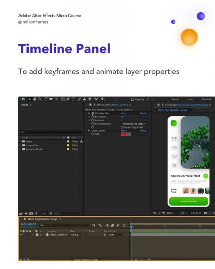 Timeline Panel  To add keyframes and animate layer properties