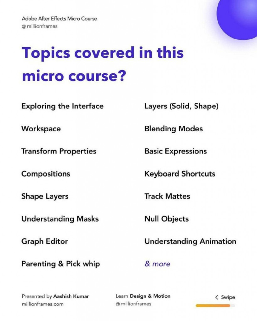 Topics covered in this  micro course?  Exploring the Interface Layers (Solid, Shape) Workspace Blending Modes Transform Properties Basic Expressions Compositions Keyboard Shortcuts Shape Layers Track Mattes Understanding Masks Null Objects Graph Editor Understanding Animation Parenting & Pick whip  & more