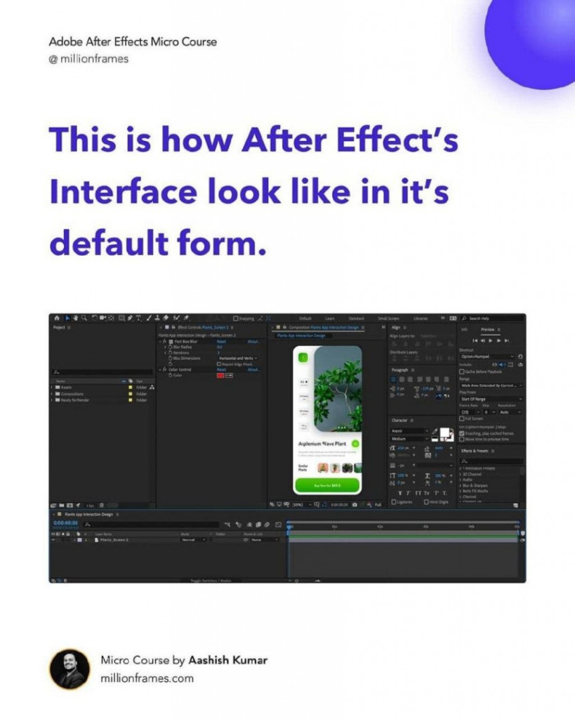 This is how After Effect's Interface look like in it's default form.