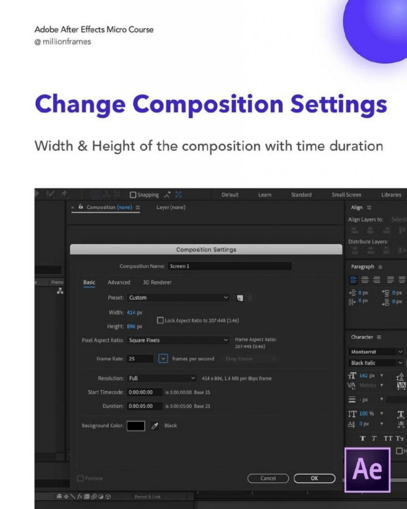 Change composition settings  Width & Height of the composition with time duration