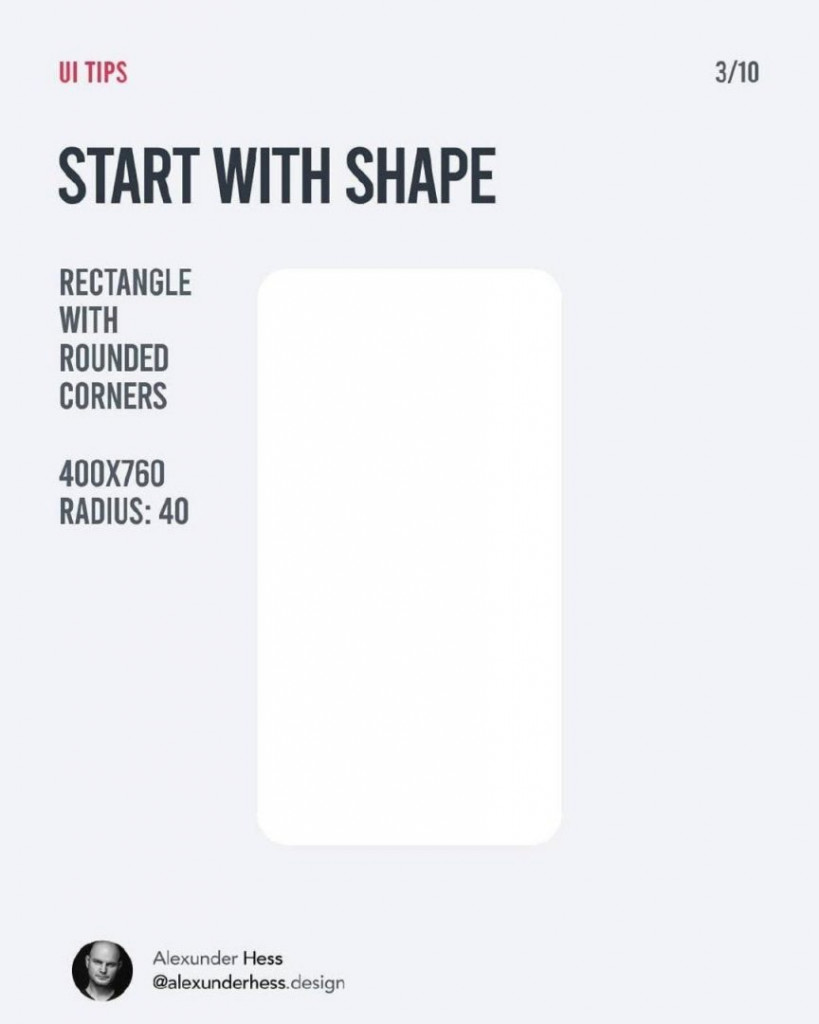 START WITH SHAPE  RECTANGLE WITH ROUNDED CORNERS 400X760 RADIUS: 40