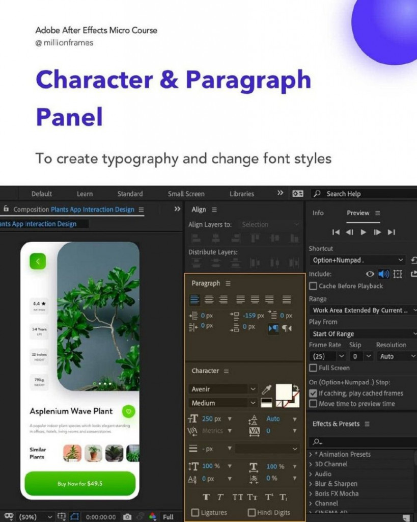 Character & Paragraph Panel  To create typography and change font styles