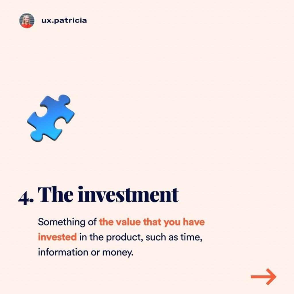 The investment  Something of the value that you have invested in the product, such as time, information or money.