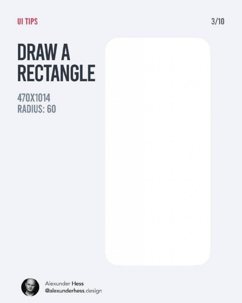 DRAW A RECTANGLE  470x1014  RADIUS: 60