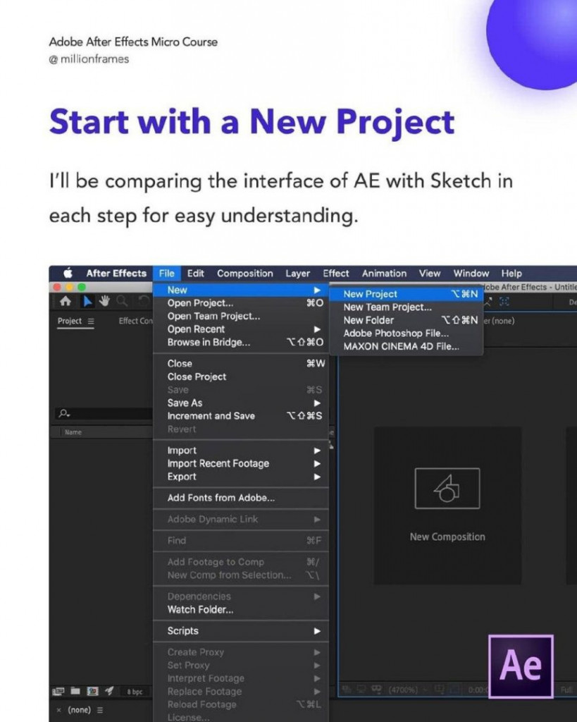 Start with a New Project  I'll be comparing the interface of AE with Sketch in each step for easy understanding.