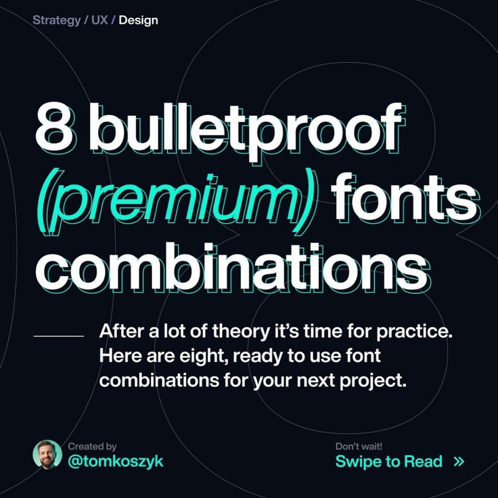 8 Bulletproof (Premium) Fonts Combinations after a lot of theory it's time for practice. Here are eight, ready to use font combinations for your next project.