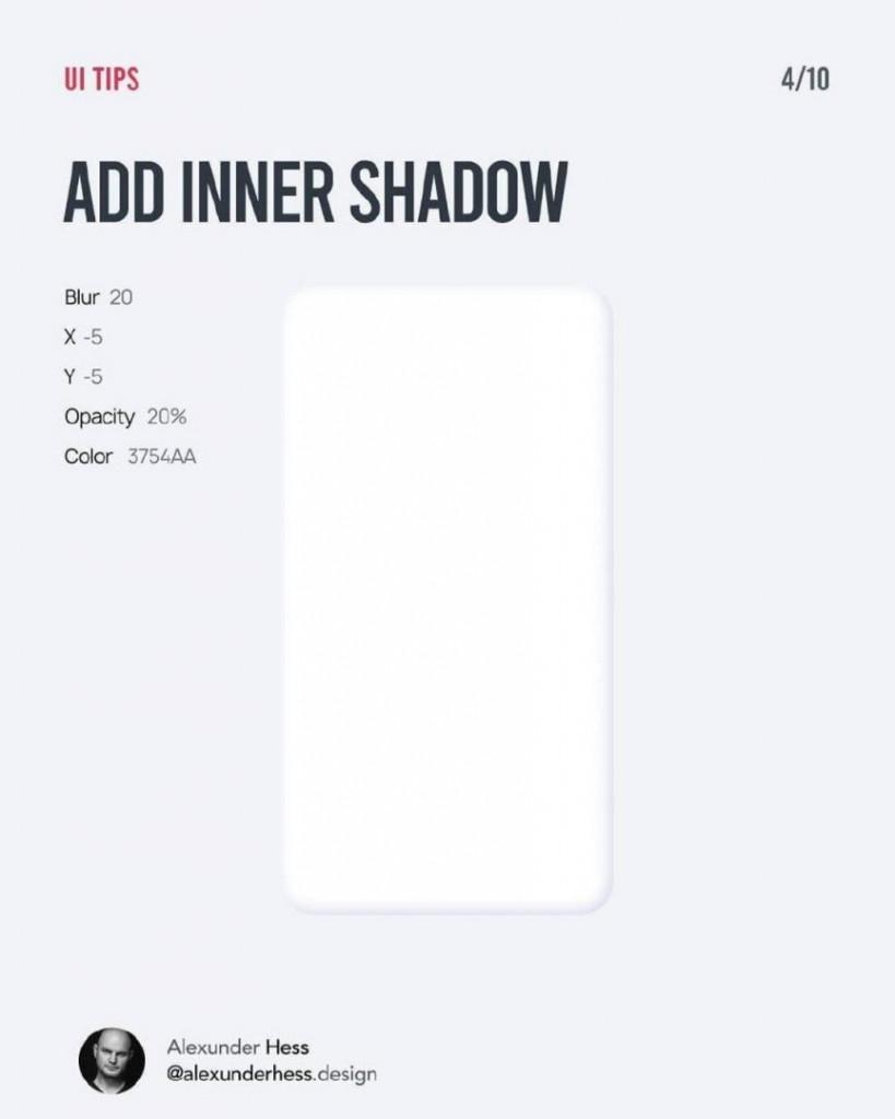 ADD INNER SHADOW  Blur 20  X -5  Y -5  Opacity 20%  Color 3754AA