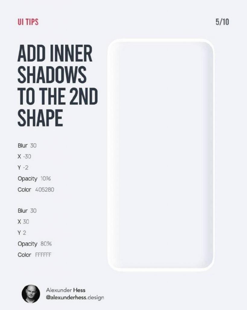 ADD INNER SHADOWS TO THE 2ND SHAPE  Blur 30 X -30 Y -2  Opacity 10%  Color 405280  Blur 30 X Y2  Opacity 80%  Color FFFFFF