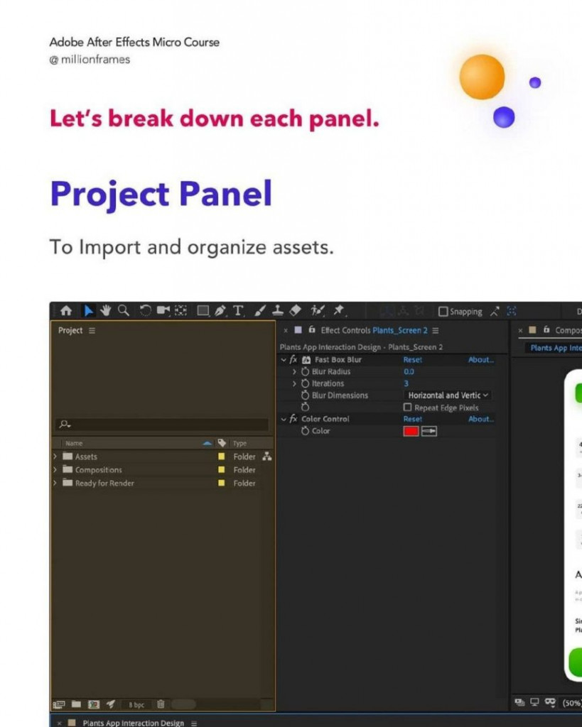 Let's break down each panel.  Project Panel  To import and organize assets.