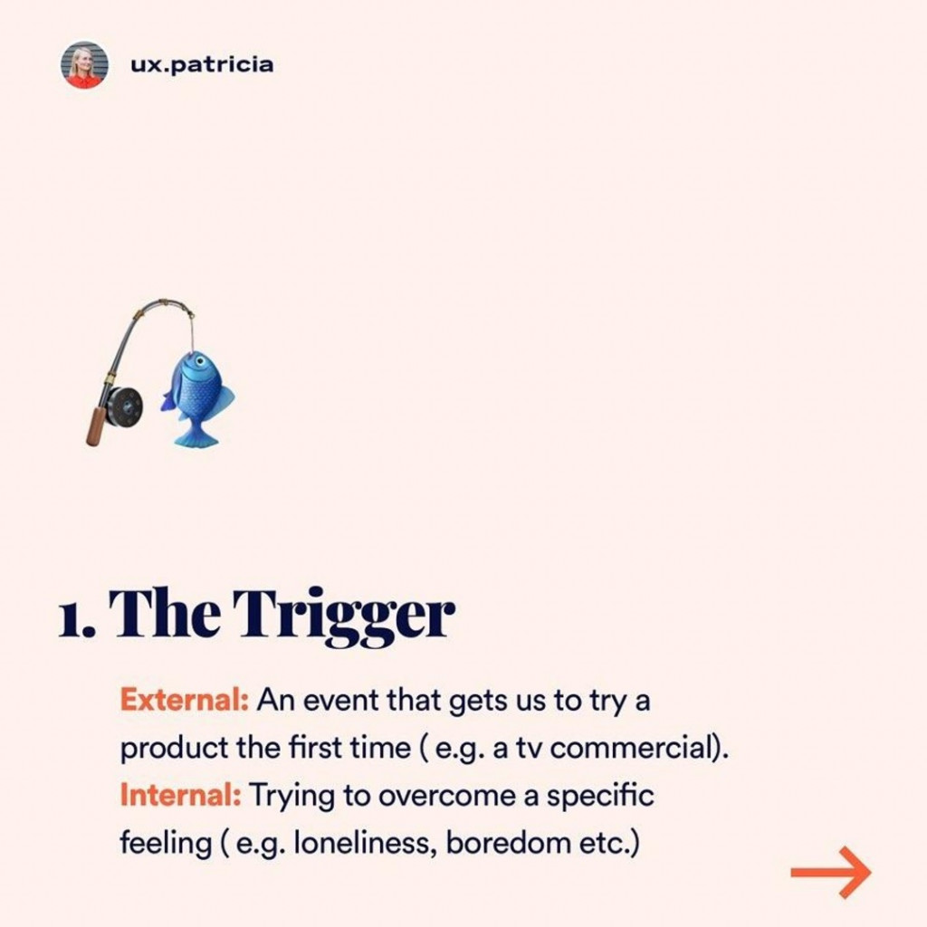 1. The Trigger  External: An event that gets us to try a product the first time ( e.g. a tv commercial). Internal: Trying to overcome a specific feeling ( e.g. loneliness, boredom etc.)