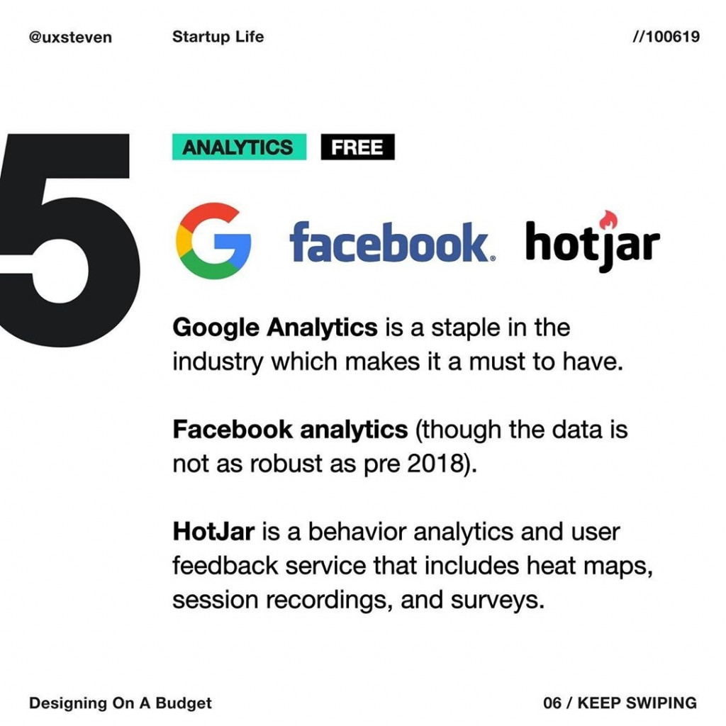 ANALYTICS  Google Analytics is a staple in the industry which makes it a must to have.  Facebook analytics (though the data is not as robust as pre 2018).  HotJar is a behavior analytics and user feedback service that includes heat maps, session recordings, and surveys.