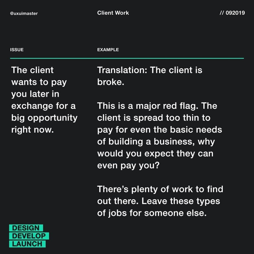 The client wants to pay you later in exchange for a big opportunity right now.  Translation: The client is broke.  This is a major red flag. The client is spread too thin to pay for even the basic needs of building a business, why would you expect they can even pay you?  There's plenty of work to find out there. Leave these types of jobs for someone else.