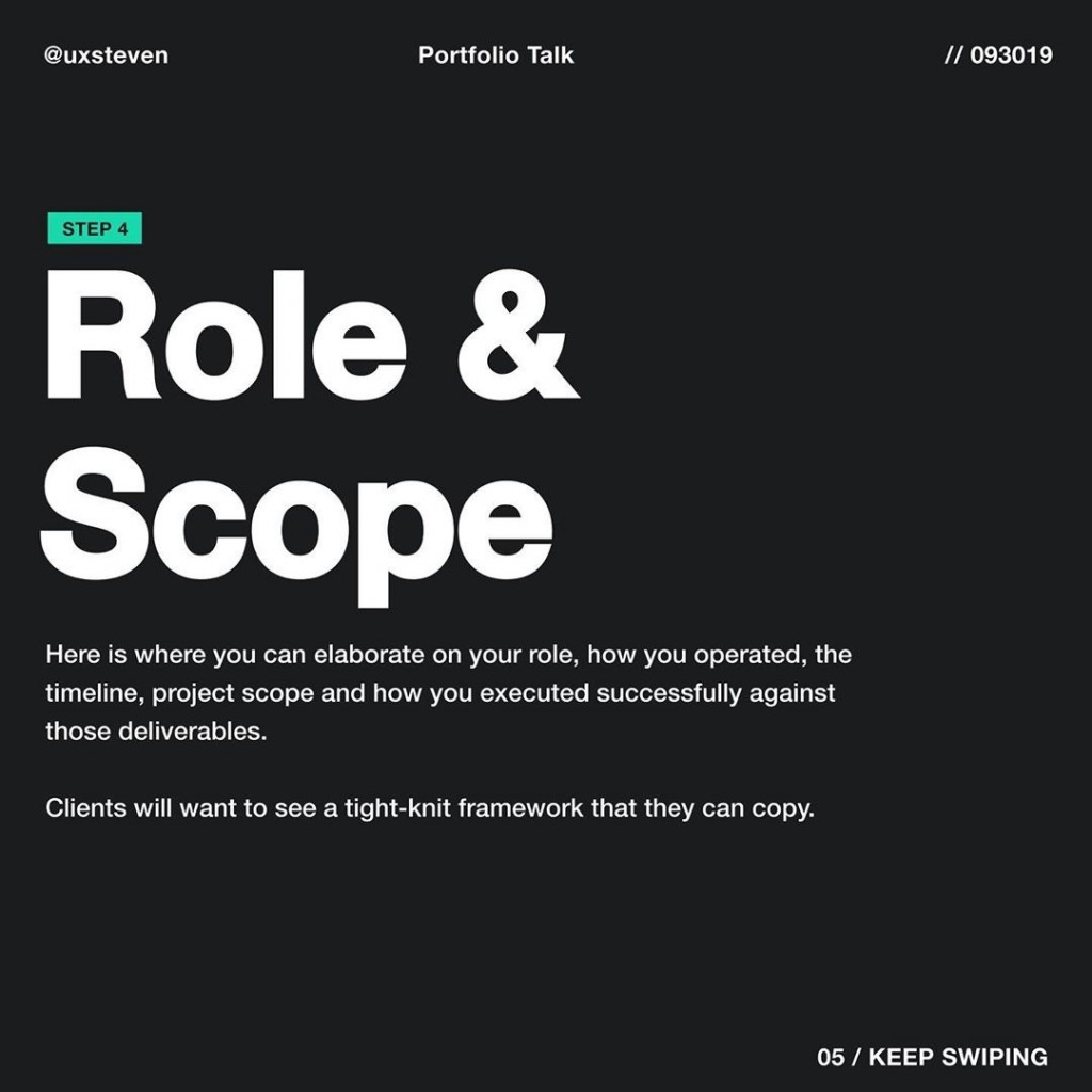 Role & Scope  Here is where you can elaborate on your role, how you operated, the timeline, project scope and how you executed successfully against those deliverables.  Clients will want to see a tight-knit framework that they can copy.