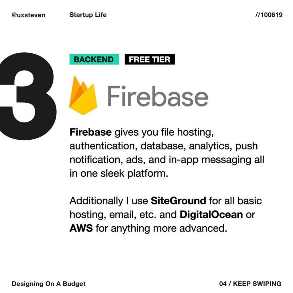 BACKEND  Firebase gives you file hosting, authentication, database, analytics, push notification, ads, and in-app messaging all in one sleek platform.  Additionally I use SiteGround for all basic hosting, email, etc. and DigitalOcean or AWS for anything more advanced.