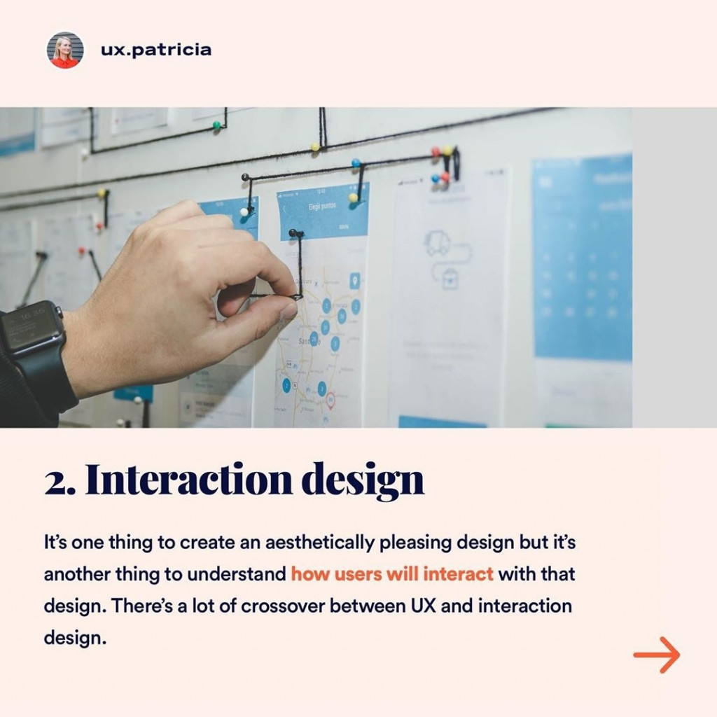 2️⃣ INTERACTION DESIGN  It's one thing to create an aesthetically pleasing design but it's another thing to understand how users will interact with that design. There's a lot of crossover between UX and interaction design.