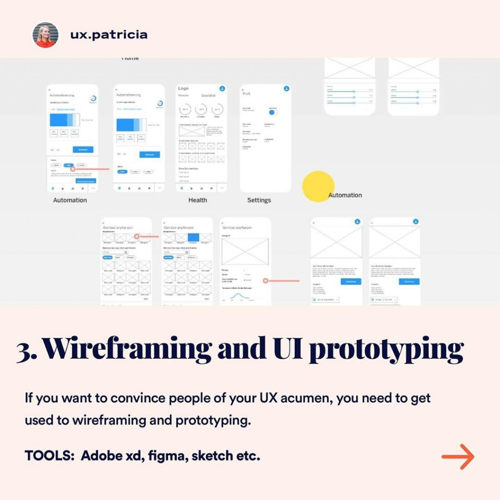 3️⃣ WIREFRAMING AND UI PROTOTYPING  If you want to convince people of your UX acumen, you need to get used to wireframing and prototyping. TOOLS: Adobe xd, figma, sketch, etc.