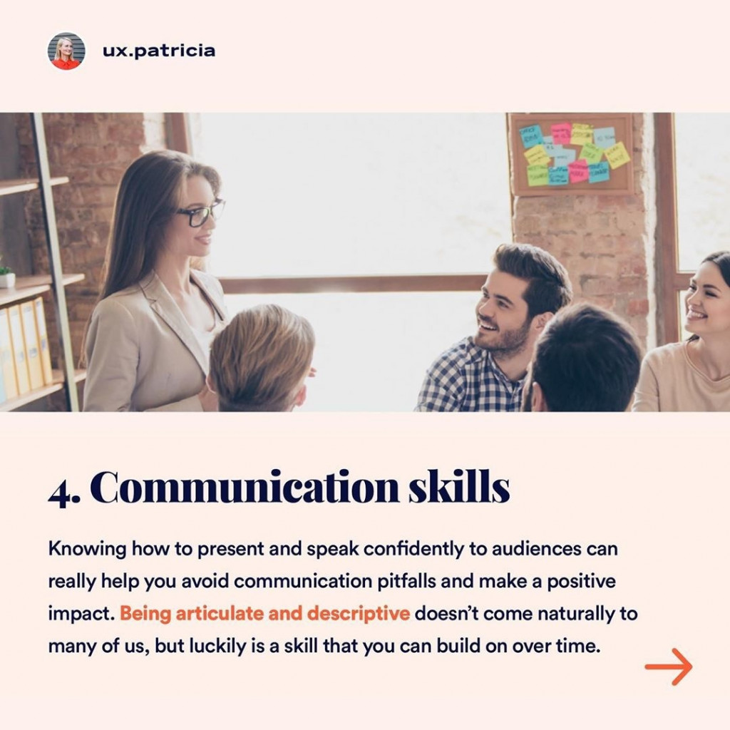 4️⃣ COMMUNICATION SKILLS  Knowing how to present and speak confidently to audiences can really help you avoid communication pitfalls and make a positive impact. Being articulate and descriptive doesn't come naturally to many of us, but luckily is a skill that you can build on overtime.