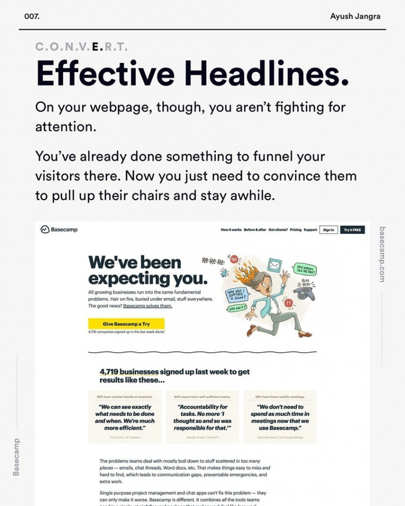 Effective Headlines.  On your webpage, though, you aren't fighting for attention.  You've already done something to funnel your visitors there. Now you just need to convince them to pull up their chairs and stay awhile.