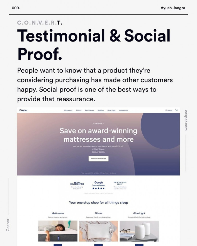Testimonial &Social Proof.  People want to know that a product they're considering purchasing has made other customers happy. Social proof is one of the best ways to provide that reassurance.