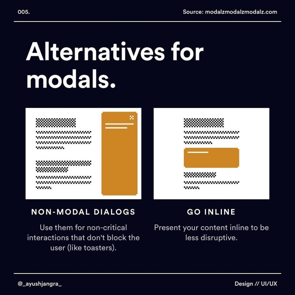 Alternatives for modals.  NON-MODAL DIALOGS  Use them for non-critical interactions that don't block the user (like toasters).  GO INLINE  Present your content inline to be less disruptive.