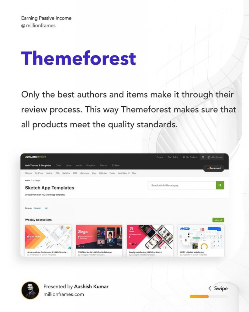 Themeforest  Only the best authors and items make it through their  review process. This way Themeforest makes sure that  all products meet the quality standards.