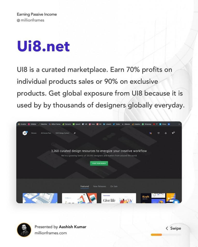Ui8.net  U18 is a curated marketplace. Earn 70% profits on individual products sales or 90% on exclusive products. Get global exposure from U18 because it is used by by thousands of designers globally everyday.