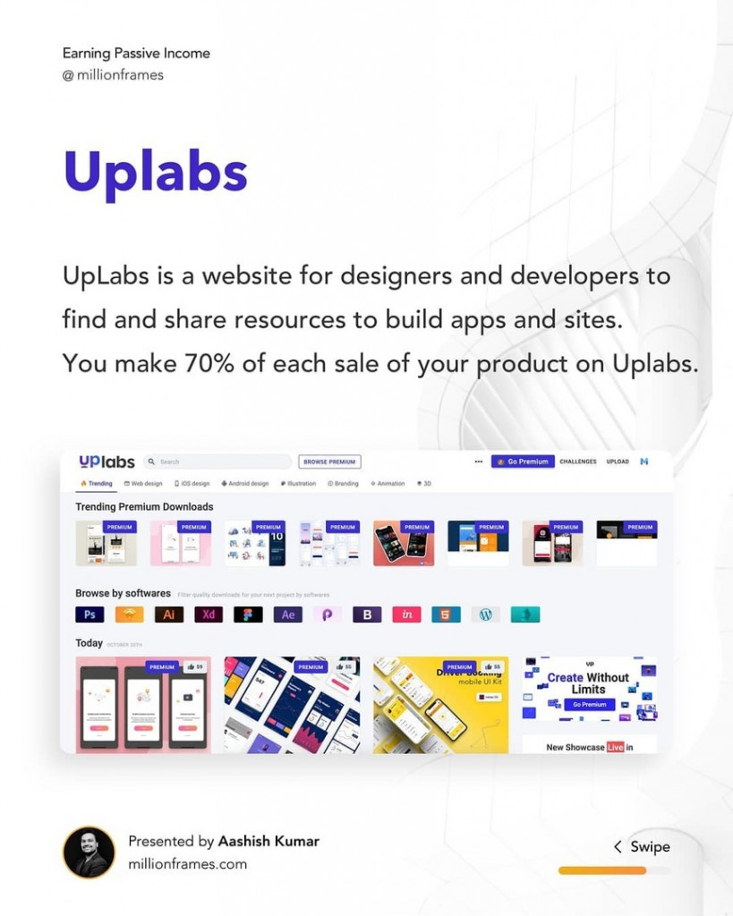 Uplabs  UpLabs is a website for designers and developers to find and share resources to build apps and sites. You make 70% of each sale of your product on Uplabs.