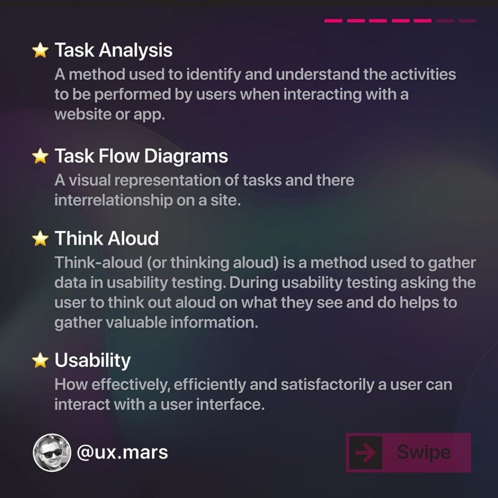 Task Analysis  A method used to identify and understand the activities to be performed by users when interacting with a website or app.  Task Flow Diagrams  A visual representation of tasks and there interrelationship on a site.  Think Aloud  Think-aloud (or thinking aloud) is a method used to gather data in usability testing. During usability testing asking the user to think out aloud on what they see and do helps to gather valuable information.  Usability  How effectively, efficiently and satisfactorily a user can interact with a user interface.